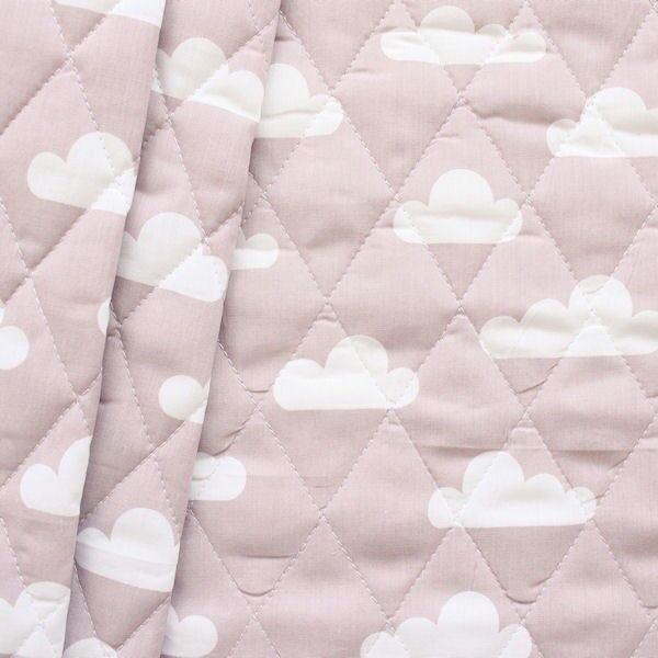 """Steppstoff wattiert """"Wolken"""" Farbe Rosé"""