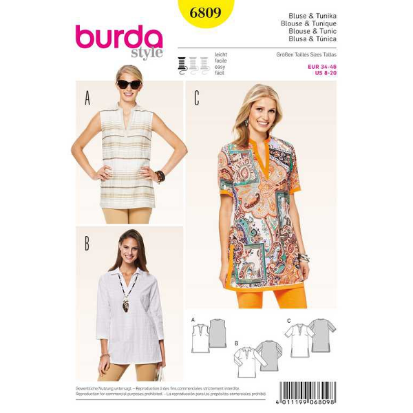 Bluse, Tunika – Blenden, Gr. 34 - 46, Schnittmuster Burda 6809