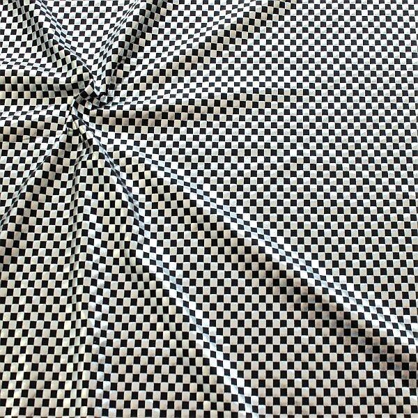 Stretch Folienjersey Schachbrett Silber-Schwarz
