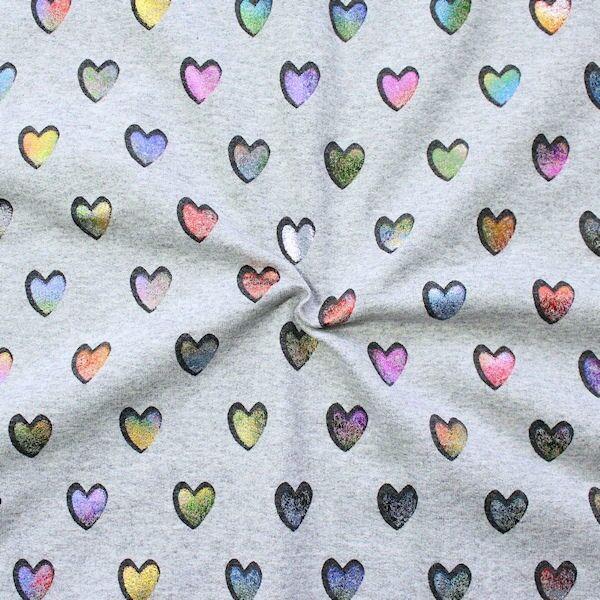 "3,00 Meter Sweatshirt Baumwollstoff French Terry ""Glamour Hearts"" Farbe Hell-Grau meliert"