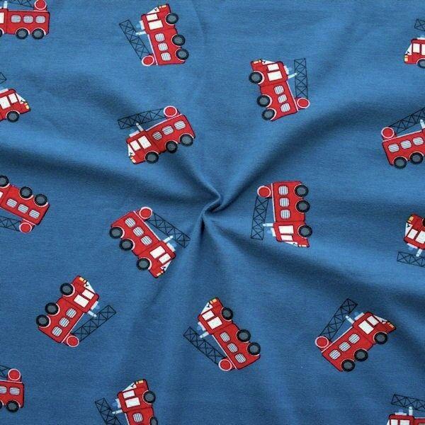 "Baumwoll Stretch Jersey ""Feuerwehr 2"" Farbe Blau"