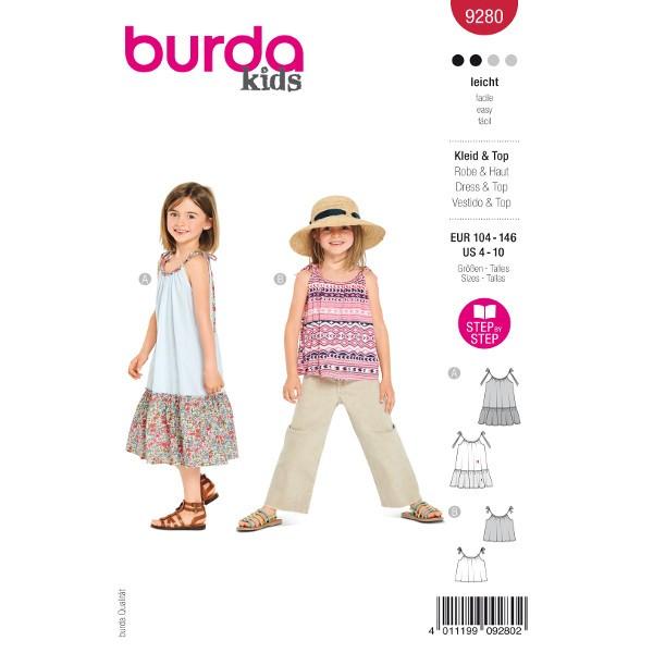 Kleider und Top Kinder, Gr. 104 - 146 Schnittmuster Burda 9280