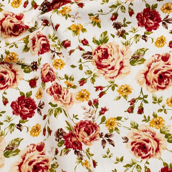 Baumwolle Popeline Rosenblüten Weiss