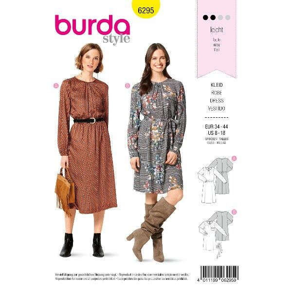 Kleid mit Raffung am Ausschnitt – Gummizug in der Taille, Gr. 34 - 44, Schnittmuster Burda 6295