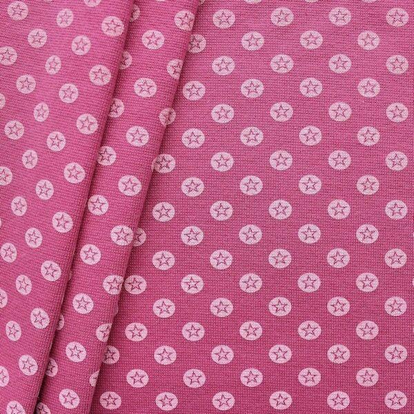 """Baumwoll Bündchenstoff """"Stern im Kreis glatt"""" Farbe Pink-Violett"""