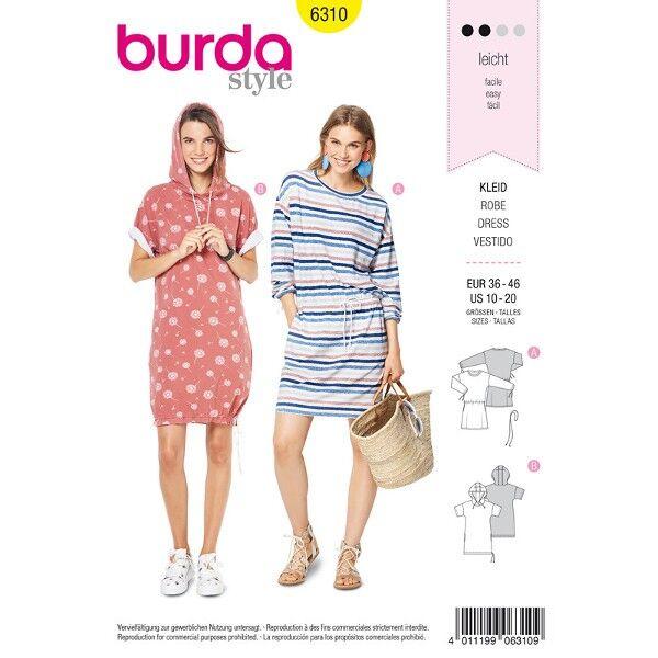 Shirtkleid und kurzärmeliges  Shirtkleid, Gr. 36 - 46, Schnittmuster Burda 6310