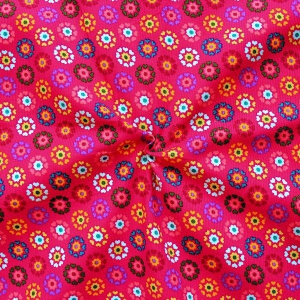 """Feincord Baumwollstoff """"Herz-Blumen"""" Farbe Pink"""
