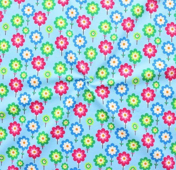 """Baumwoll Stretch Jersey """"Lollipop Flowers"""" Farbe Hell-Blau"""