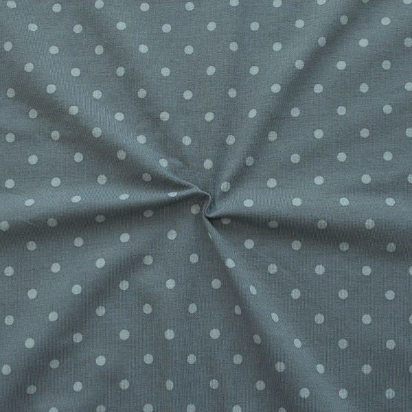 "Baumwoll Stretch Jersey ""Classic Dots 2"" Farbe Grau Hell-Grau"