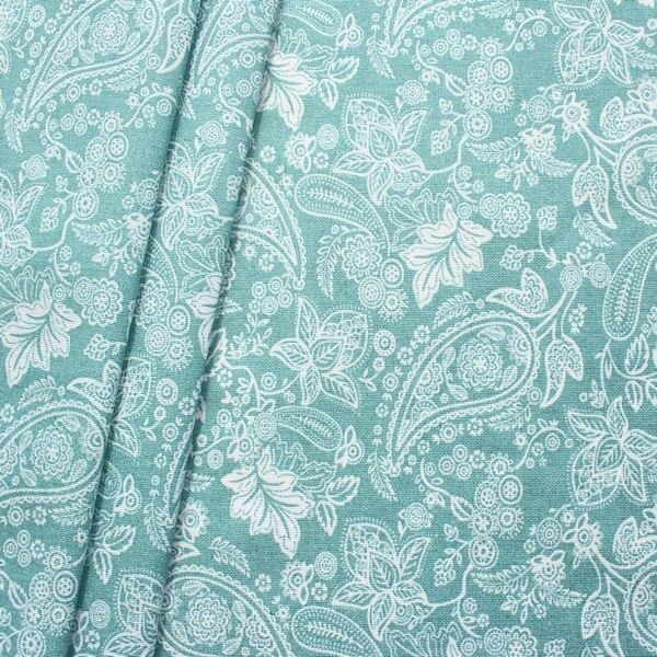 "Dekostoff beschichtet ""Flower & Paisley 5"" Farbe Mint"