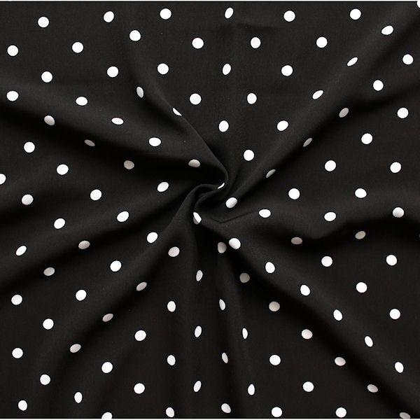 """Polyester Modestoff """"Punkte mittel"""" Farbe Schwarz-Weiss"""