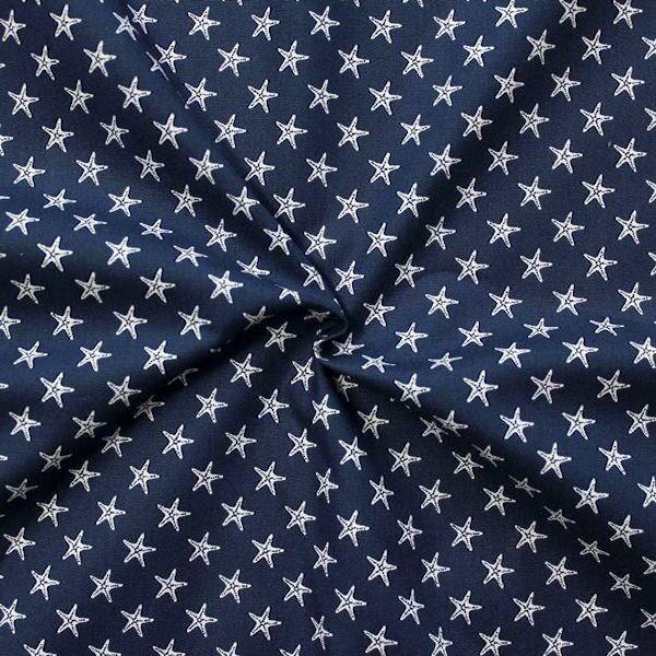 Baumwollstoff Seestern klein Navyblau Weiss