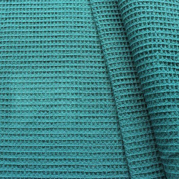 Baumwolle Waffel Piqué Petrol
