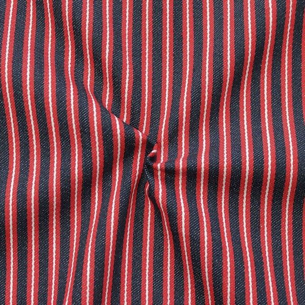 100% Baumwolle Denim Jeans Stoff Streifen maritim Rot Blau