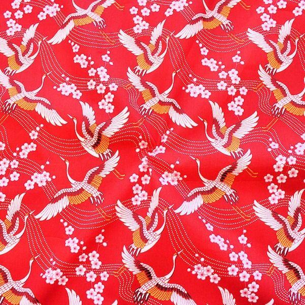 Baumwolle Popeline Kraniche Rot