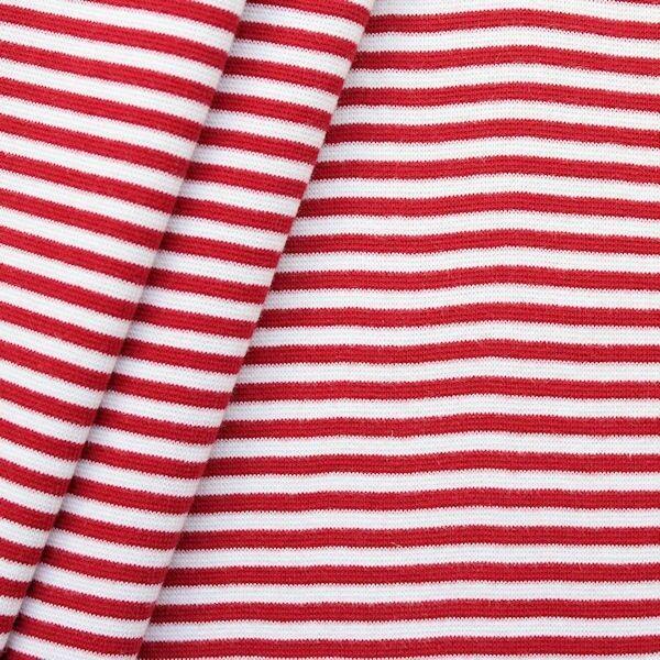 "Baumwoll Bündchenstoff ""Ringel glatt"" Farbe Rot Weiss"