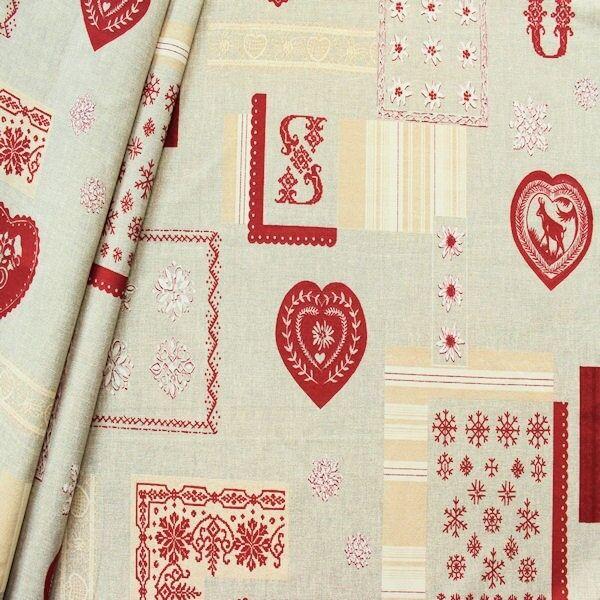 "Dekostoff ""Winter Patchwork"" Farbe Grau-Beige-Rot"