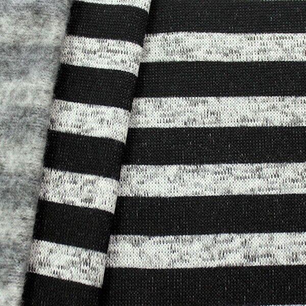 Strick Fleece Streifen Melange Grau-Schwarz