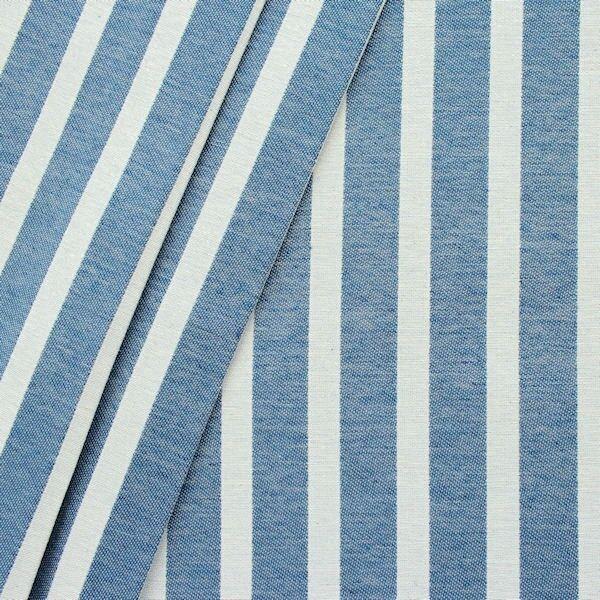 """Dekostoff """"Längsstreifen"""" Farbe Jeans-Blau Natur"""