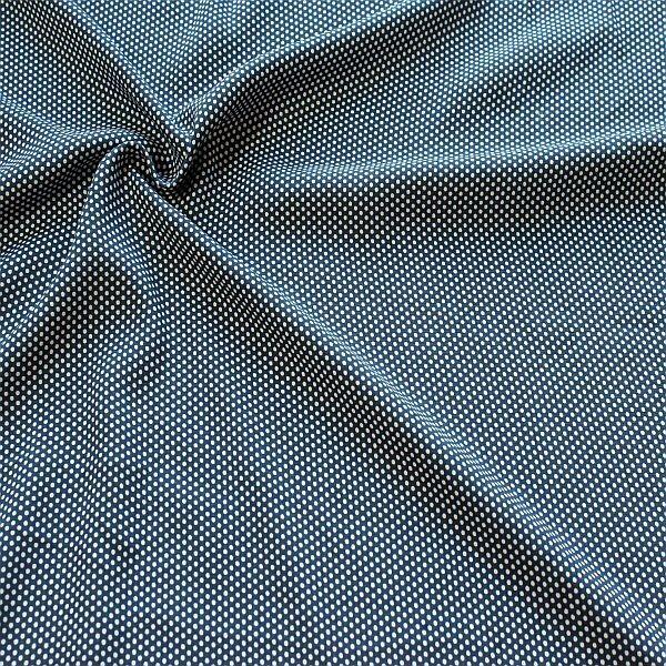 Viskose Javanaise Kleine Punkte Blau-Weiss