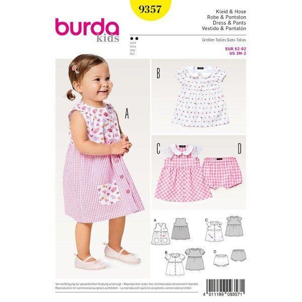 Kleid - Höschen - Bubikragen - Knopfverschluss, Gr. 62 - 92, Schnittmuster Burda 9357
