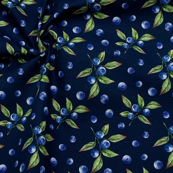 100% Baumwolle Popeline Heidelbeeren Dunkel-Blau