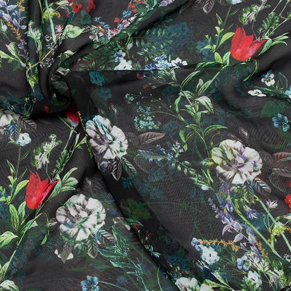Polyester Chiffon Blumenvielfalt Schwarz
