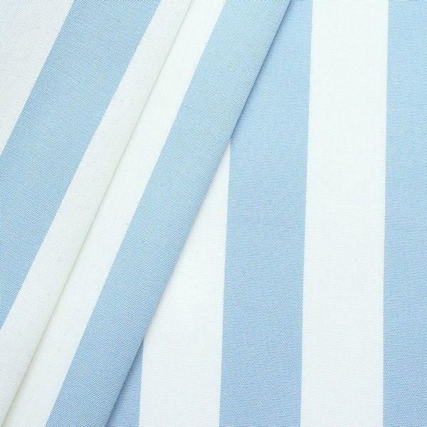 Markisenstoff Outdoorstoff Streifen Hell-Blau Weiss