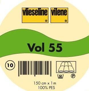 Vlieseline weiches Volumenvlies wärmeisolierend einnähbar Typ VOL 55 Farbe Weiss