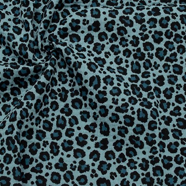 100% Baumwolle Musselin Double Gauze Leo-Print Tauben-Blau