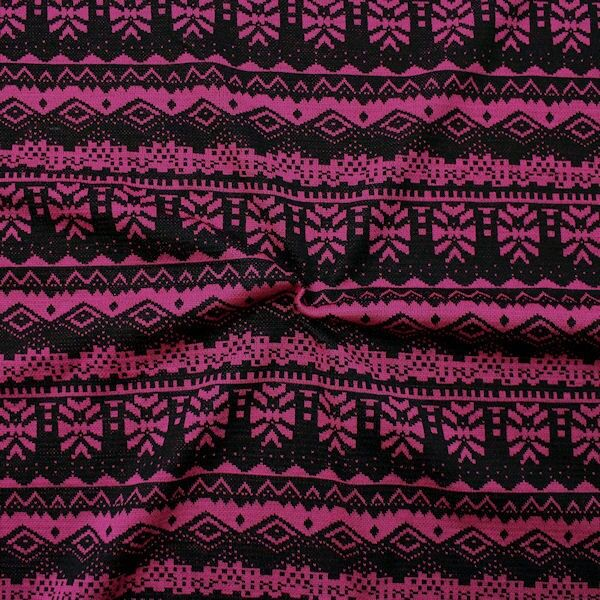 Modestoff Dekostoff Jacquard Azteken Style Schwarz-Pink
