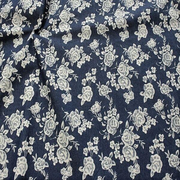 Stretch Denim Jeans Rosenblüten Dunkel-Blau