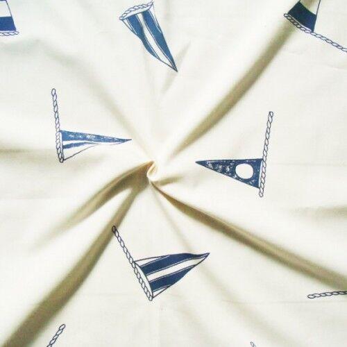 """Dekostoff """"Flaggen"""" Farbe Creme-Weiss"""