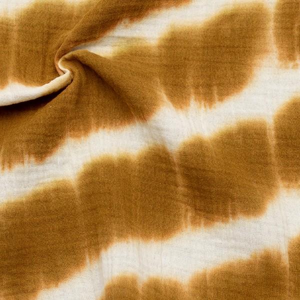 Baumwolle Musselin Double Gauze Batik Look Ocker-Gelb