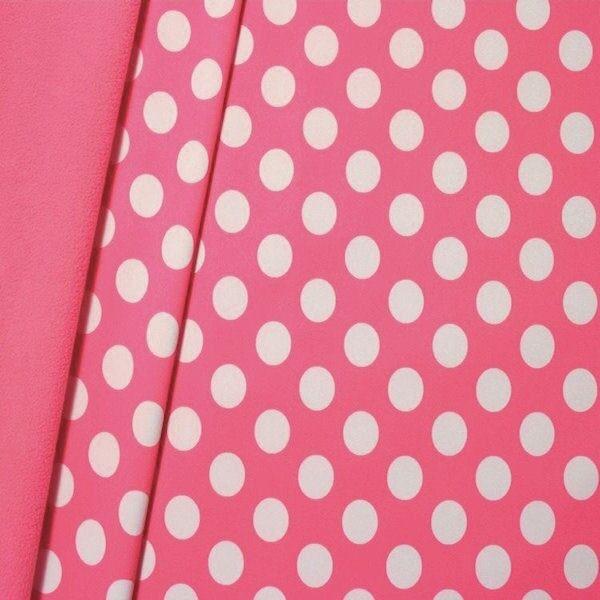 "Softshell Fleece Stoff ""Punkte Groß"" Farbe Rosa"