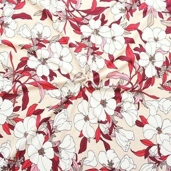 "Viskose Stretch Jersey ""Blütentraum 2"" Farbe Hell-Beige Rot"