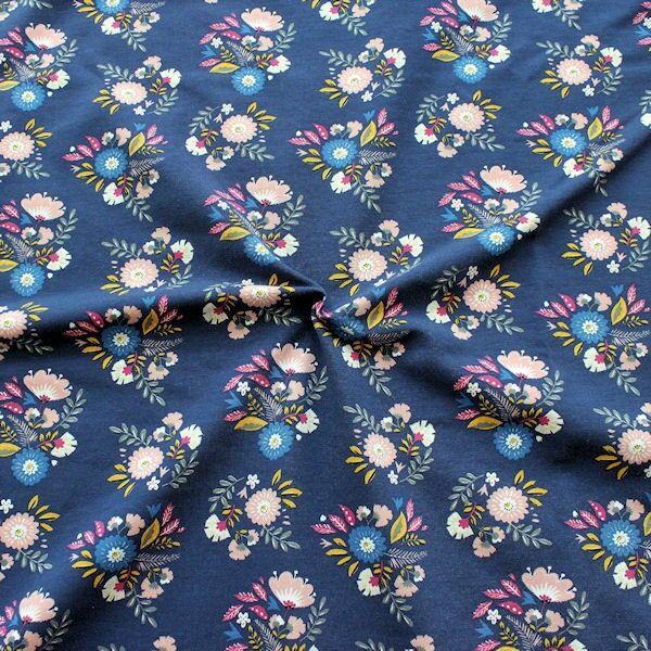 Sweatshirt Baumwollstoff Blumenbukett Dunkel-Blau