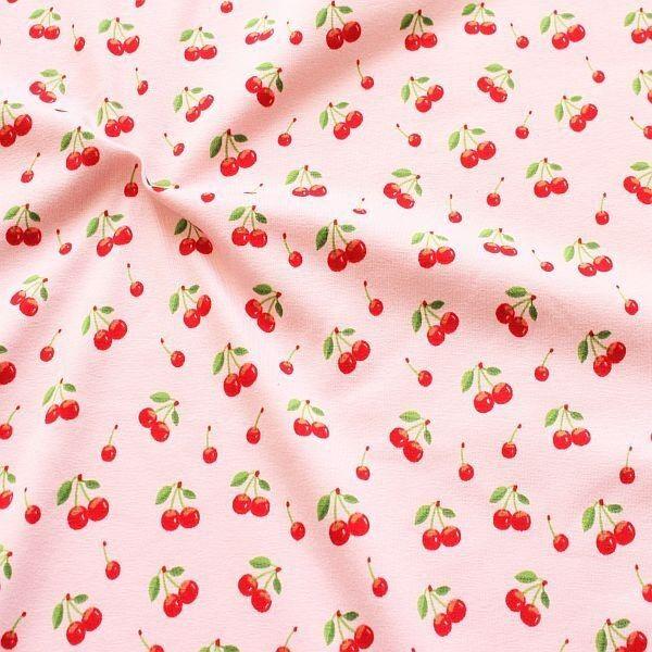 Baumwoll Stretch Jersey Kirschen Rosa