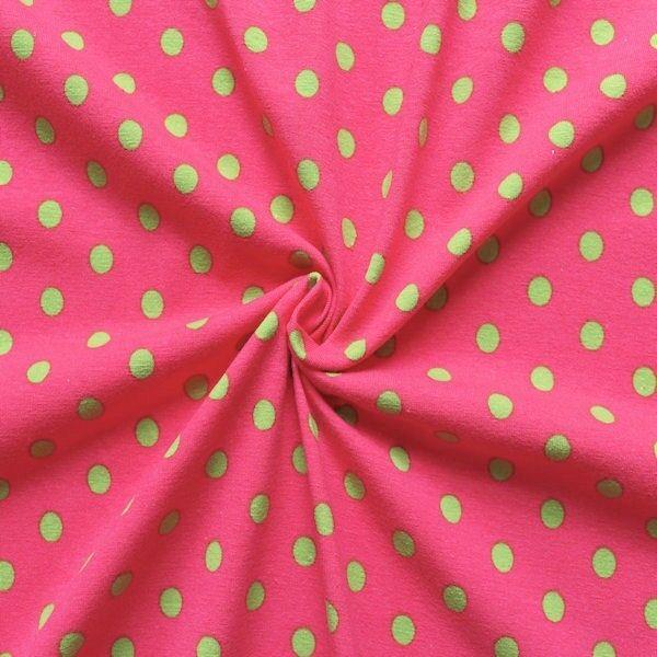 """Baumwoll Stretch Jersey """"Punkte Mittel"""" Farbe Pink-Grün"""