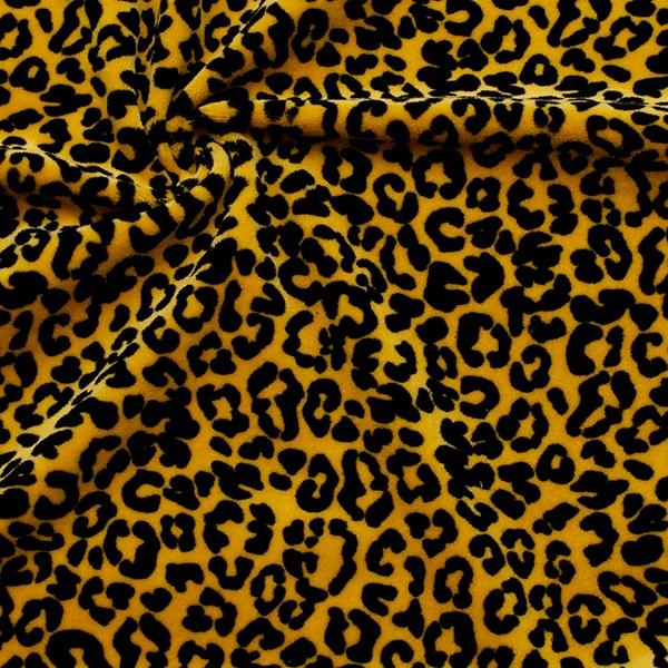 Nicki Baumwollstoff Leopard Look Curry-Gelb