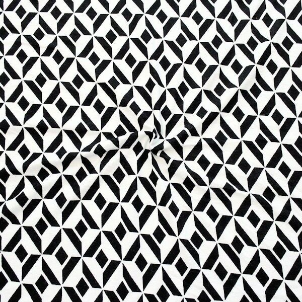 Baumwoll Stretch Jersey Retro Graphic Print Schwarz-Ecru