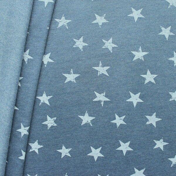 """Sweatshirt Baumwollstoff """"Sterne Used Look"""" Farbe Vintage-Blau"""