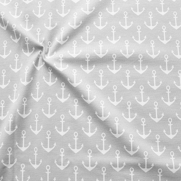Sweatshirt Baumwollstoff French Terry Anker Groß Hell-Grau