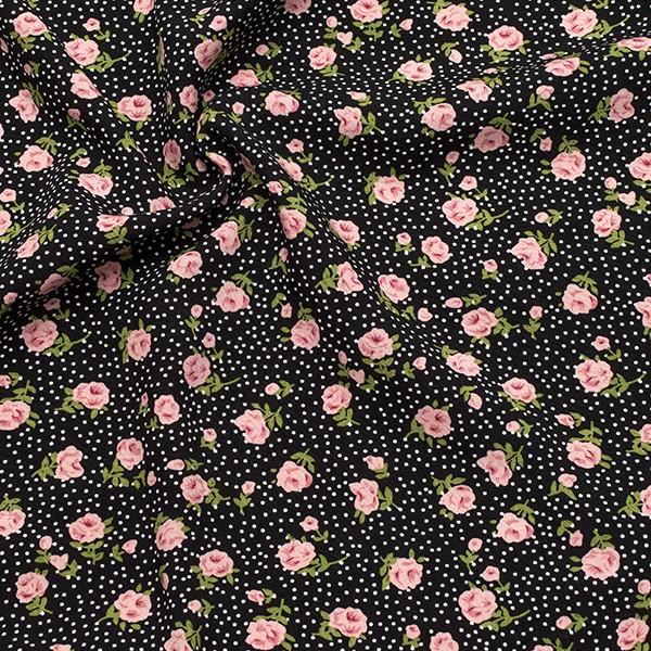 Viskose Modestoff Rosen und Punkte Schwarz