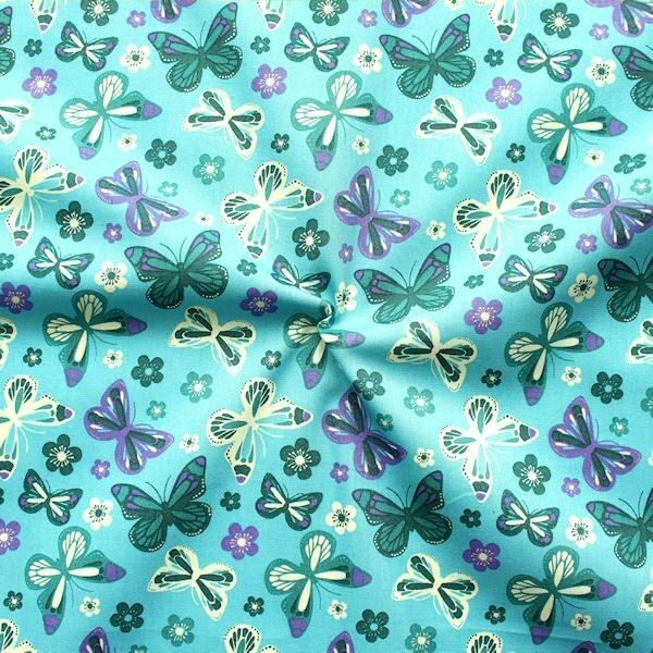 Baumwollstoff Schmetterlinge & Blumen Mix Türkis-Blau