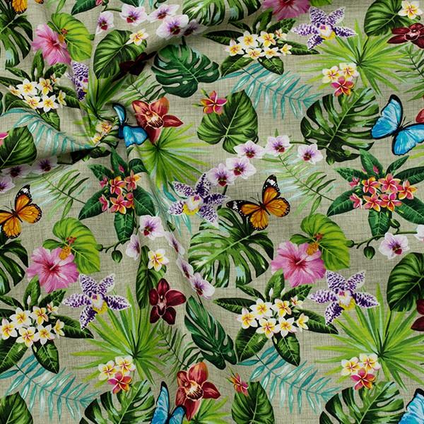 Baumwollstoff Popeline Digital Druck Schmetterlingsgarten Oliv