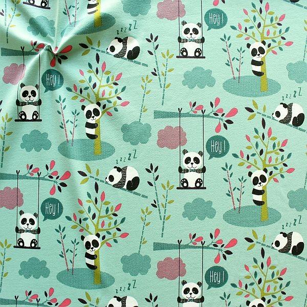 Baumwoll Stretch Jersey Happy Panda Mint-Türkis