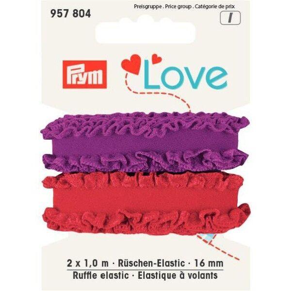 Prym Love 2 x 1m Rüschen-Elastic 16mm breit rot, dunkel flieder