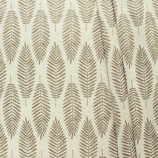 Dekostoff Halbpanama Leinen-Optik Palmenblätter Natur-Braun