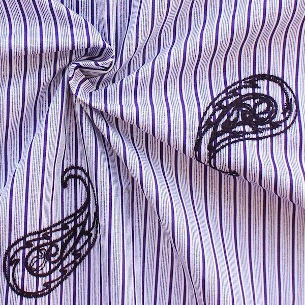 "100% Baumwolle Popeline Streifen bestickt ""Paisley"" Farbe Lila-Weiss"